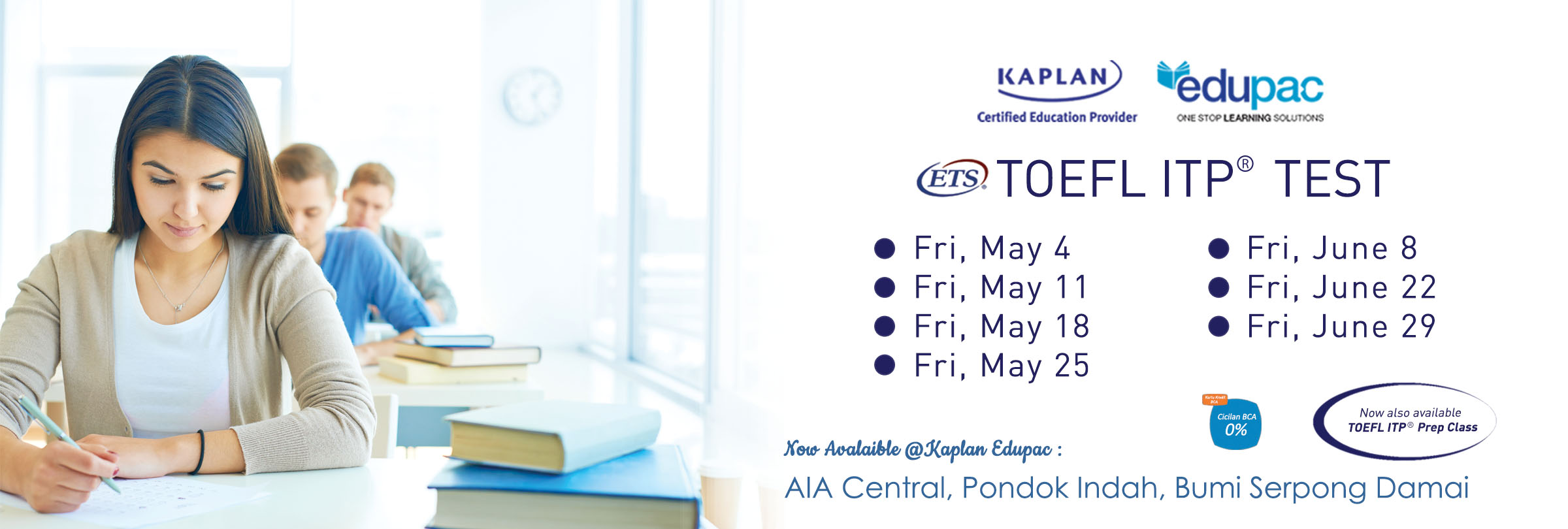 Jakarta TOEFL ITP Test Schedule for May-June 2018