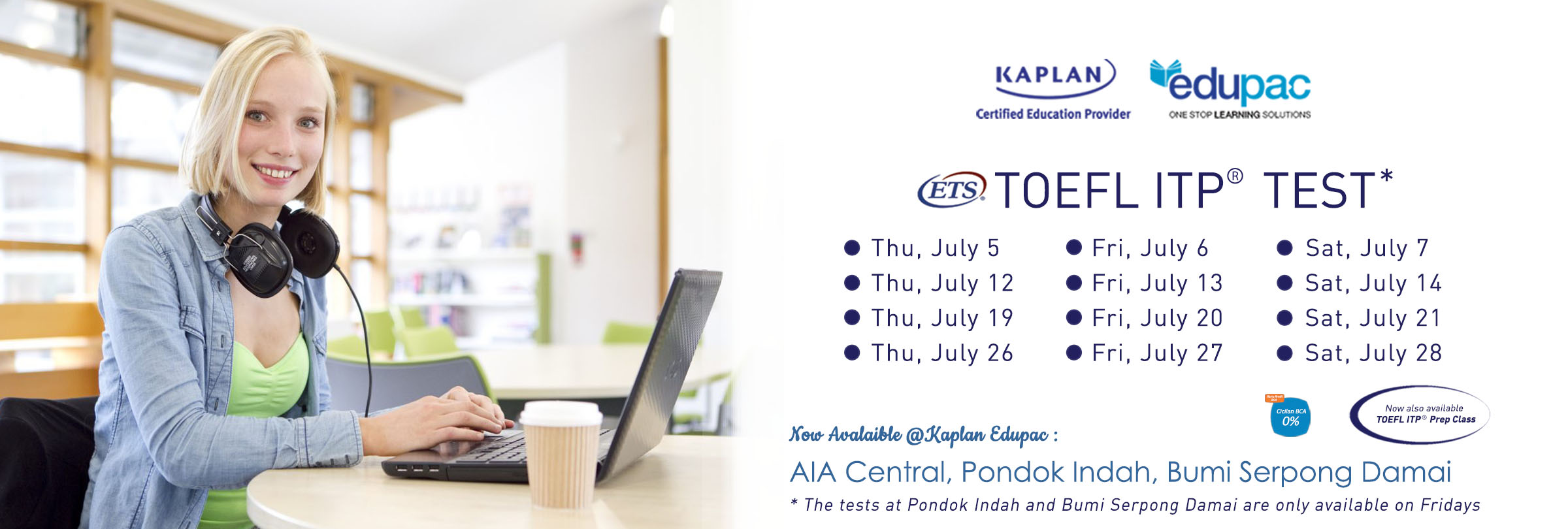Jakarta TOEFL ITP Test Schedule for July 2018